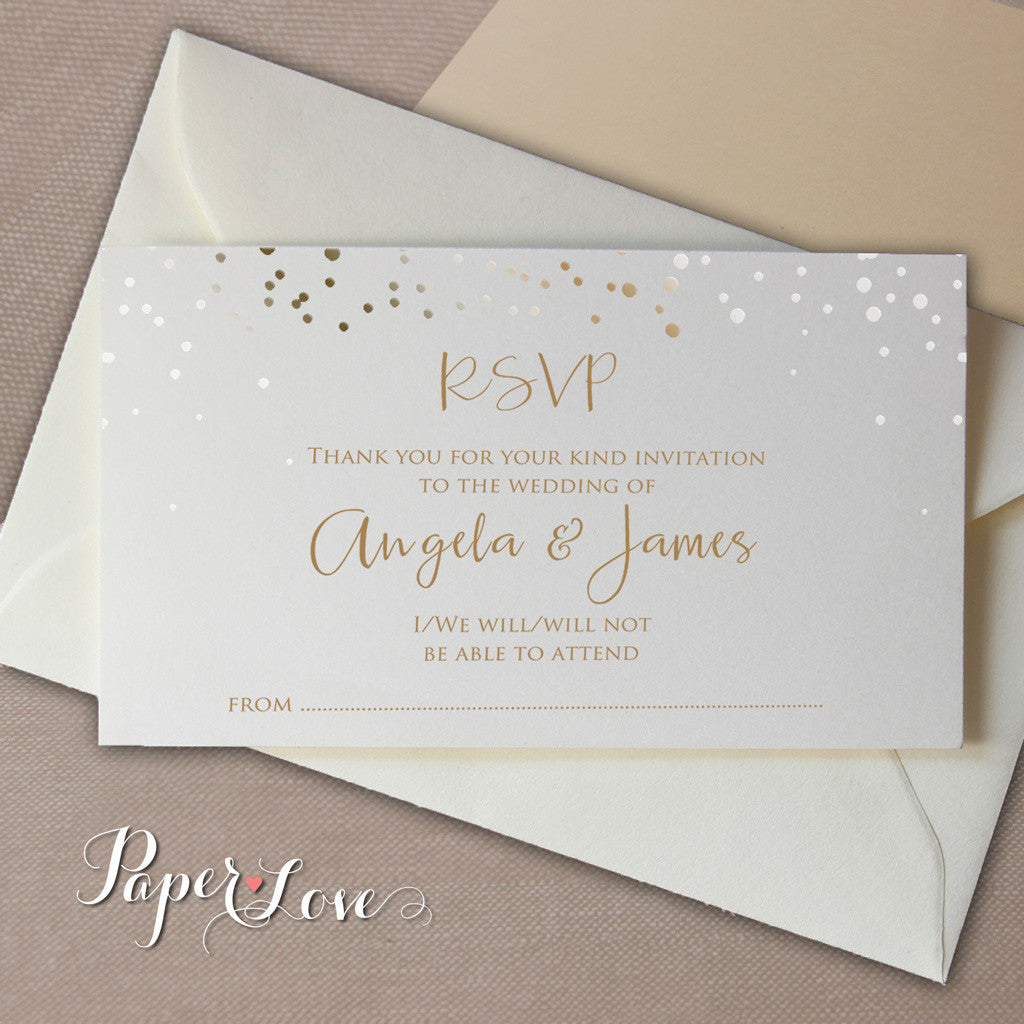 gold foil wedding invitation set with rsvp card sle damask wedding ...