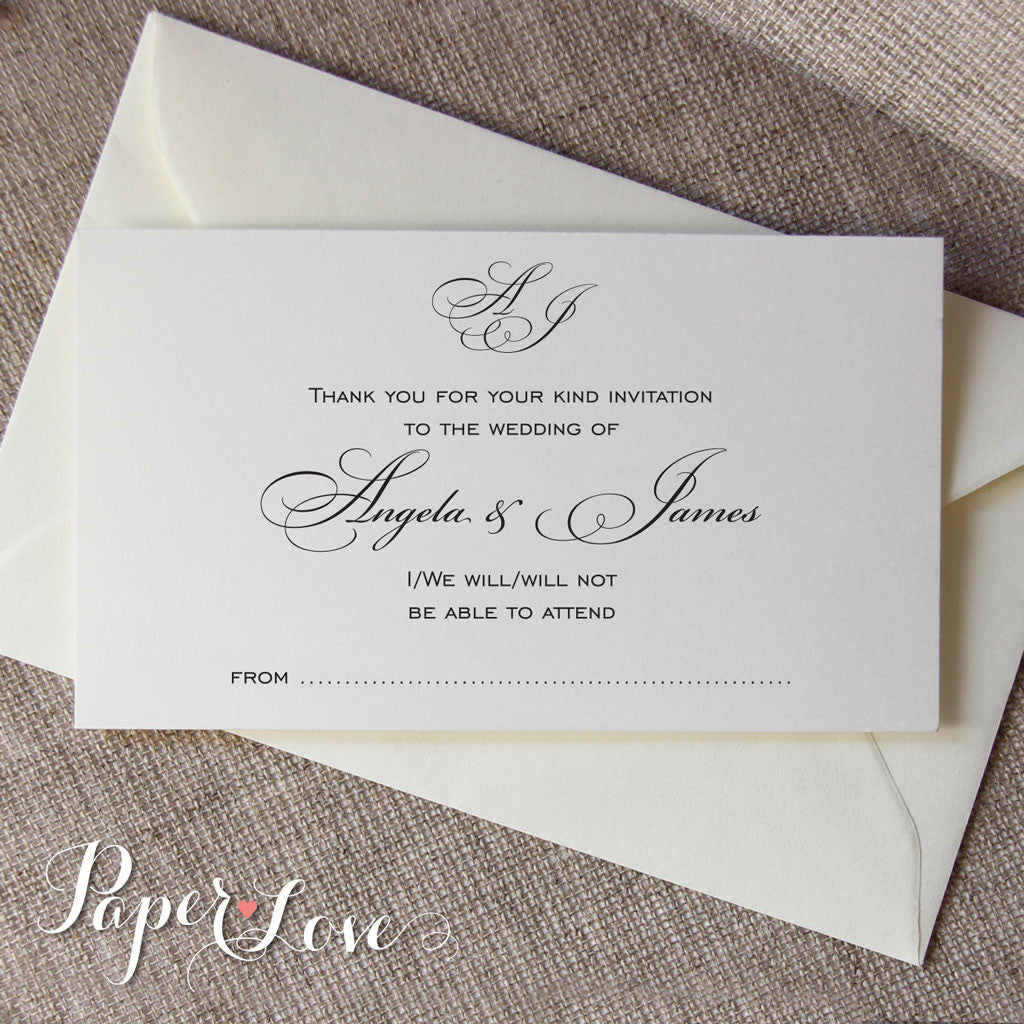 Beautiful White Or Cream Wedding Reply Card With Matching Envelope