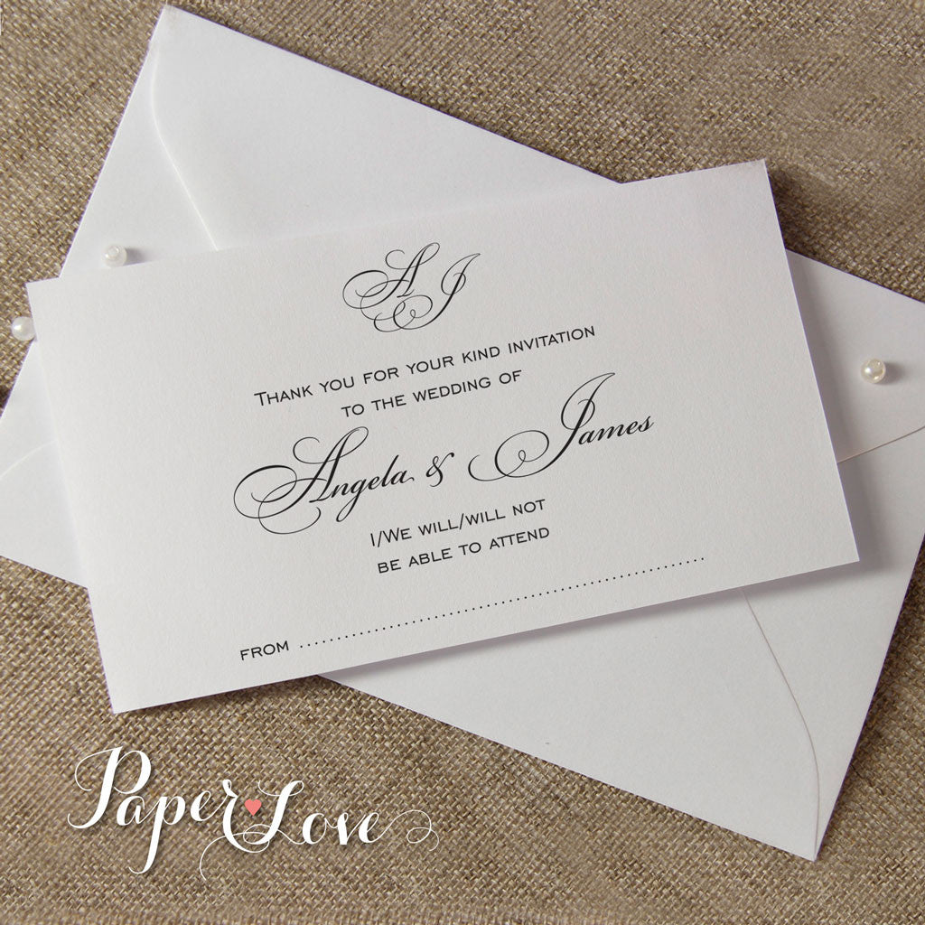 Wording for wedding invitation response cards forever plantable beautiful white or cream wedding reply card with matching envelope rsvp altavistaventures Images