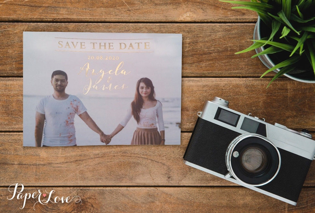 Save The Date with Your Photo Silver Gold Rose Gold Foil Wedding 2019