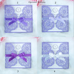 Wedding Invitation DIY Lilac Metallic Laser Cut Invitations Ribbon Envelopes Cards - 4 colors of ribbons to choose from