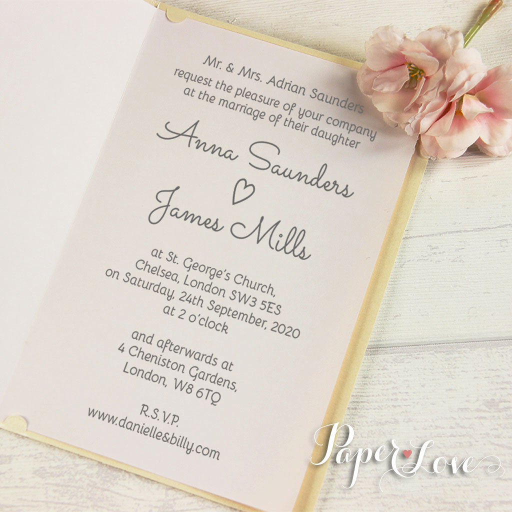 Pearlescent Flower And Names Laser Cut Personalised Wedding Invites ... Nice Look