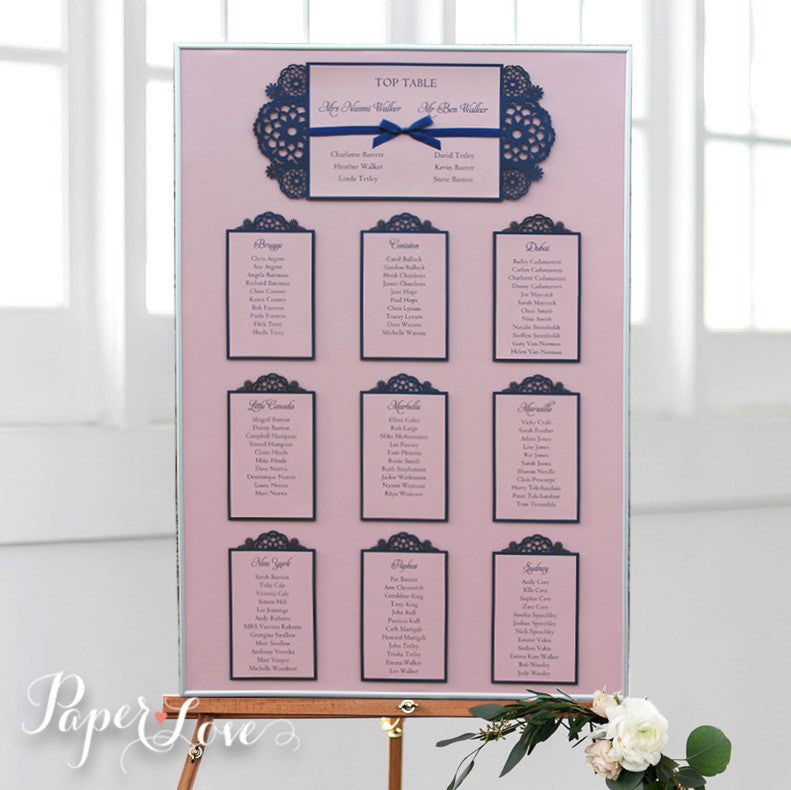 Elegant Vintage Rose Laser Cut Table Plan With Royal Blue Satin Ribbon