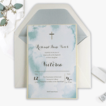 Beautiful Baptism Christening Invitation Foil Pressed Watercolour Colours