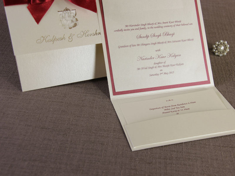 Asian Wedding Invitation, Laser Cut With Complimentary Envelopes and Printing