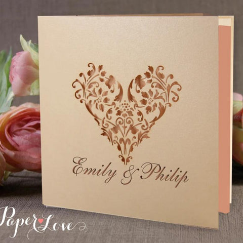Lovely White Blush Laser Cut Embossed Pocket Rose Gold Foil Wedding Invitation