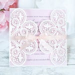 Elegant White Two Side Opening Wedding Invitations