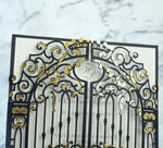 Elegant Black Monogram Ornamental Gatefold Laser Cut Wedding Day Invitation with Gold Foil