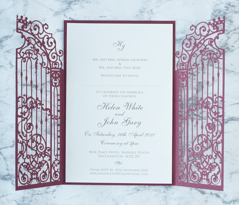 Elegant Burgundy Monogram Ornamental Gatefold Laser Cut Wedding Day Invitations with Gold Foil
