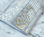 Personalised Elegant Gray Monogram Ornamental Gatefold Laser Cut Wedding Day Invitation with Gold Foil