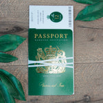 Green Wedding Invitation Passport Luxury Gold Foil and Boarding Pass Invite suite