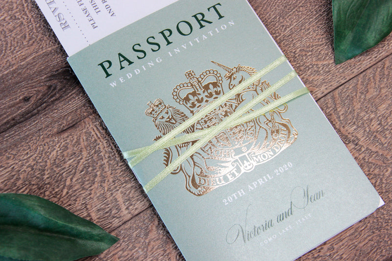 Mint Wedding Invitation Passport Luxury Gold Foil and Boarding Pass Invite suite