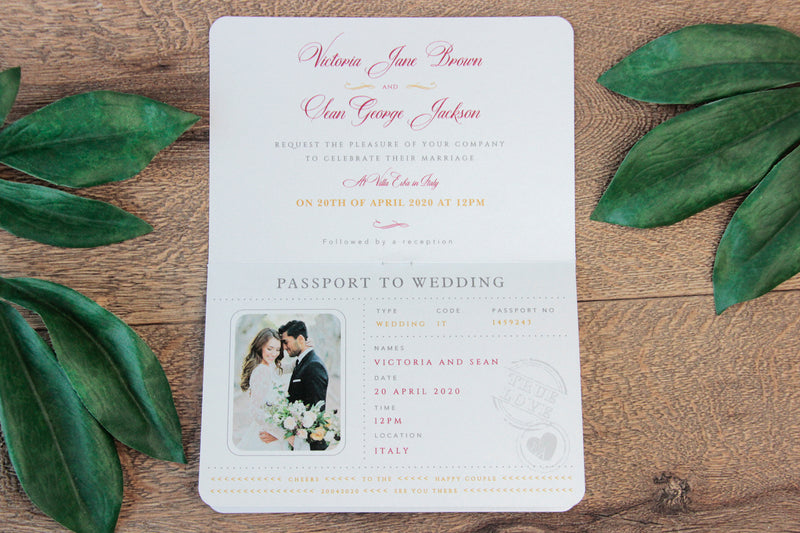 Red Wedding Invitation Passport Luxury Gold Foil and Boarding Pass Invite suite