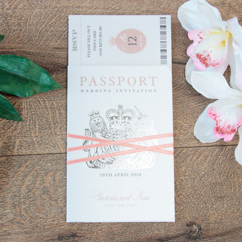White Wedding Invitation Passport Luxury Silver Foil and Boarding Pass Invite suite