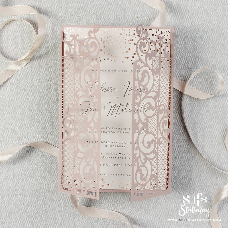 Ornamental Gate Pink Laser Cut Invitations Rose Gold Foil Confetti
