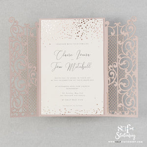 Ornamental Gate Misty Rose Laser Cut Invitations Rose Gold Foil Confetti