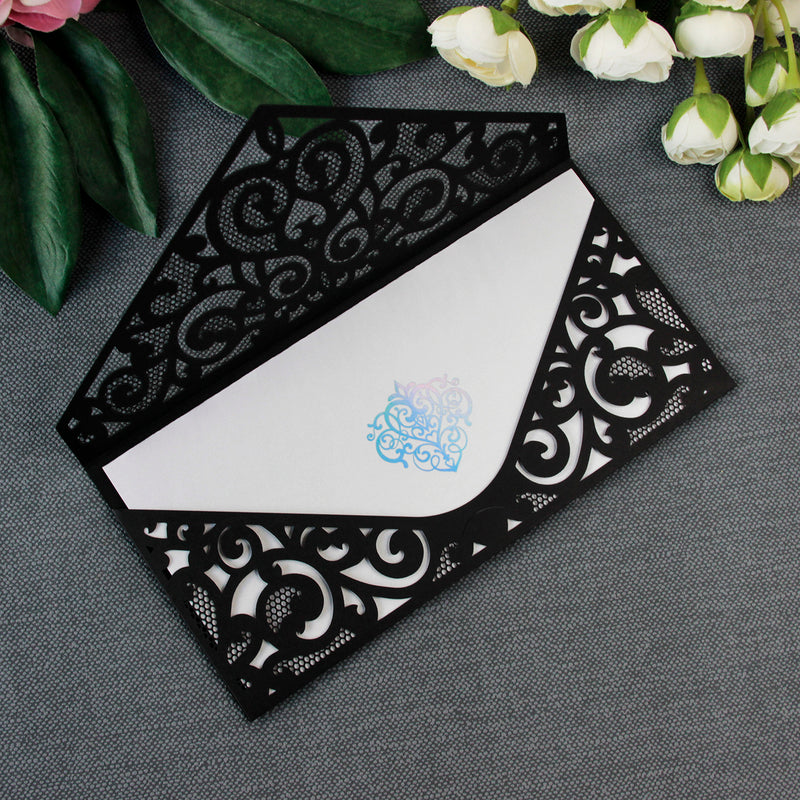 Black Pocket Inivtation Holographic Ornament Foil