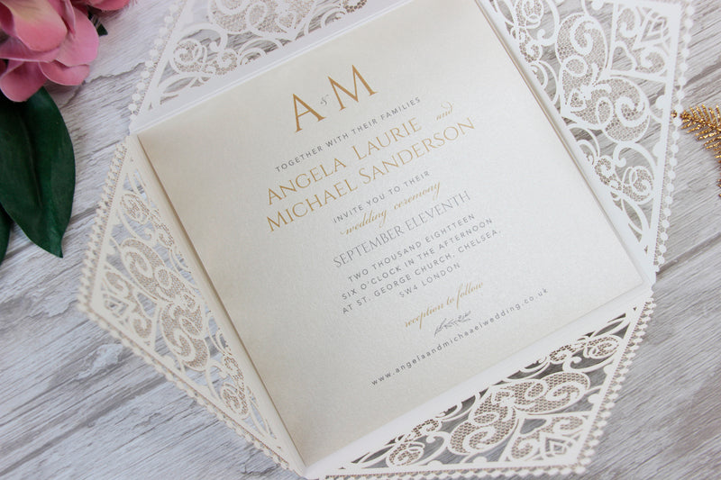 Cream Square Laser Cut Wedding Invitations with Cream Insert and Gold Glitter