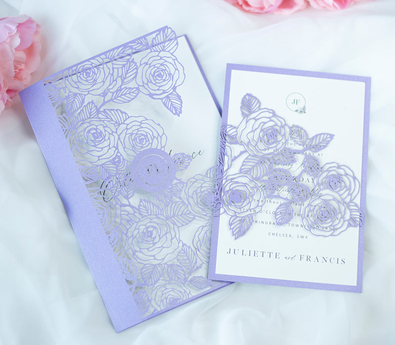 Elegant Personalised Lilac Laser Cut Wedding Invitation with Roses  - Envelope and Invitation Monogram - Full printout