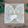 Rustic Wedding Invitation Floral Laser Cut DIY Kit