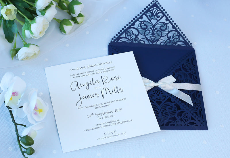 DIY Invitations Wedding Invitation Cards Laser Cut with Cream Lace + Envelope Elegant Navy Blue Satin Ribbon Wedding Invitations Birthday
