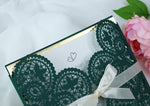 Green Wedding DIY Invitations Laser Cut Set Box Wedding invitation Do It Yourself