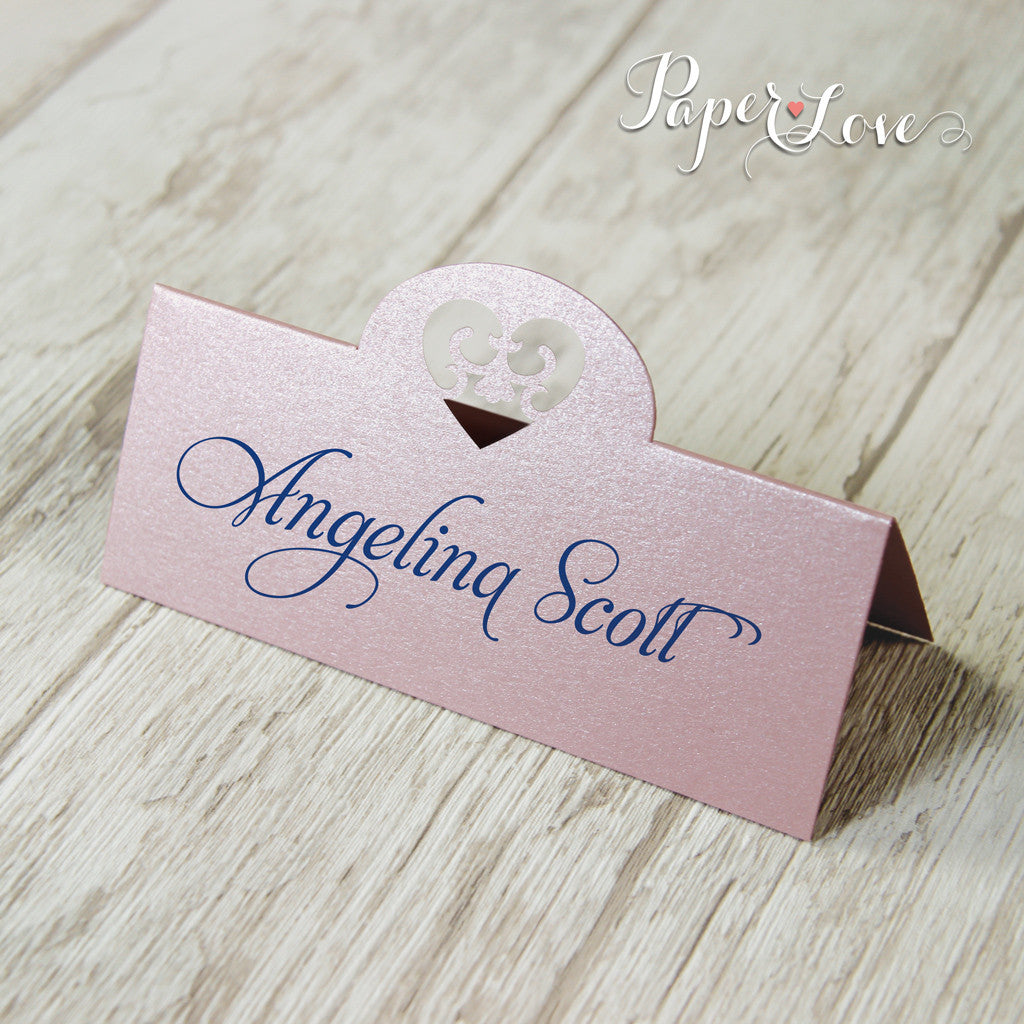 Laser Cut Mettalic Misty Rose Beautiful Personalised Place Card