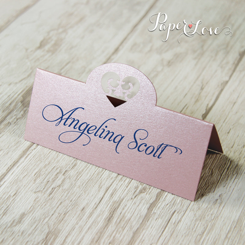 Laser Cut Metallic Misty Rose Beautiful Personalised Place Card