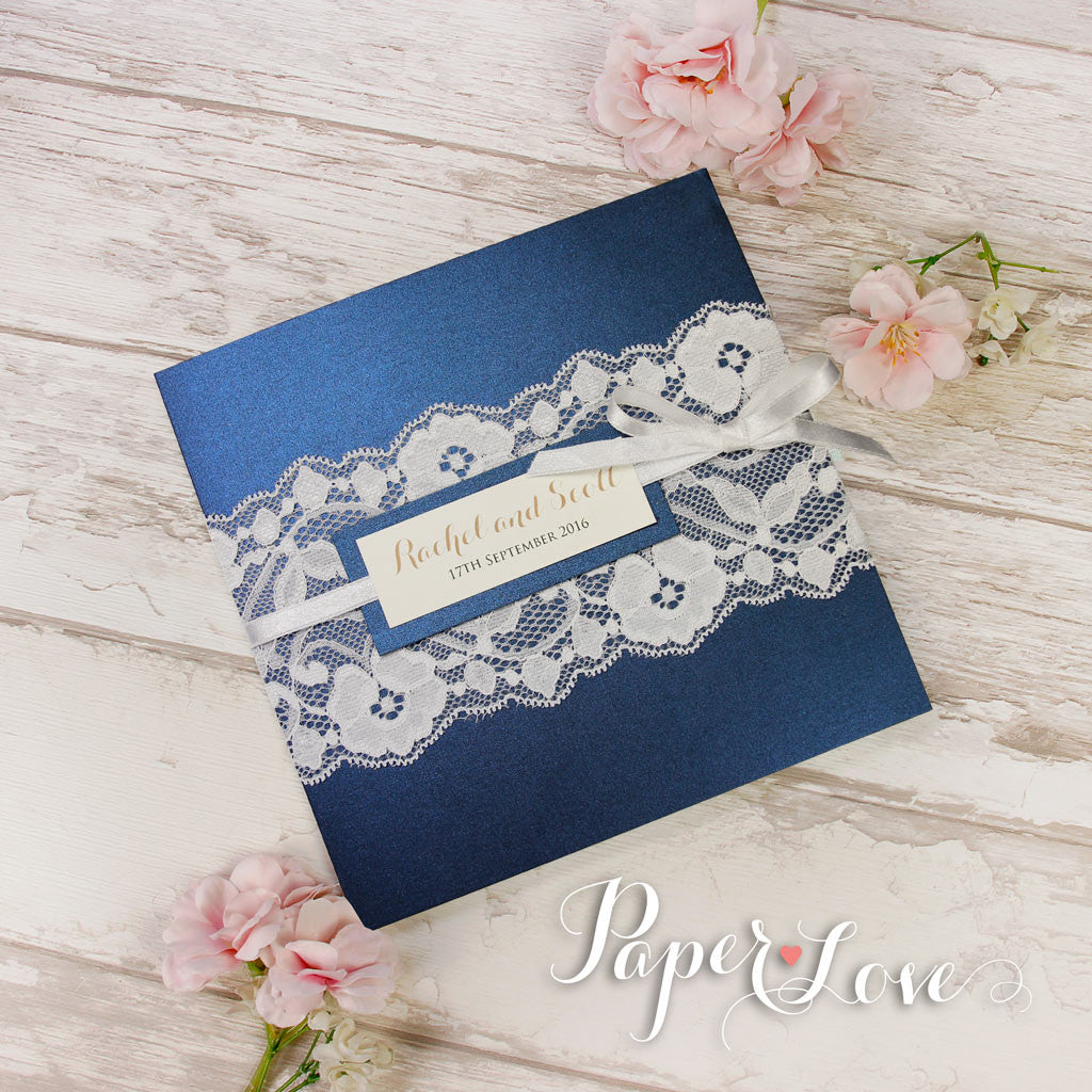 Navy Blue Metallic Pocket-Fold Rustic Wedding Day Invitation – Paper ...