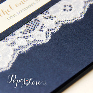 Navy Blue Metallic Pocket-Fold Rustic Wedding Day Invitation