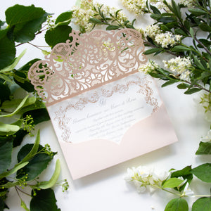 Peach Laser Cut Pocket Wedding Invitations with Rose Gold Ornament