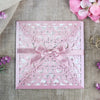 Lace Misty Rose Square Elegant Wedding Invitations with Ribbon