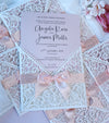 DIY Invitations Wedding Invitation Cards Laser Cut with Cream Lace + Envelope Elegant Pink Satin Ribbon Wedding Invitations Birthday