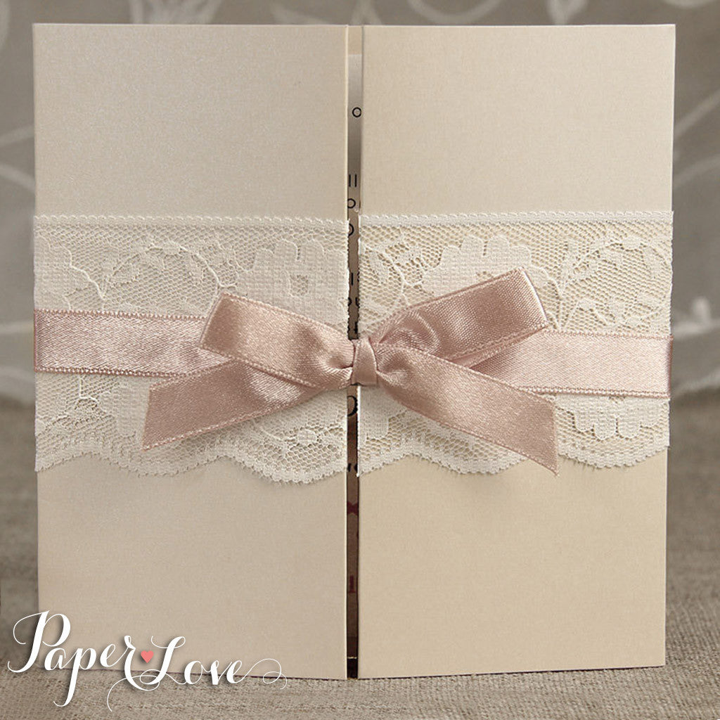 ... Personalised Wedding Invitations U0026 Evening Invites Handmade   Lace  Vintage ...