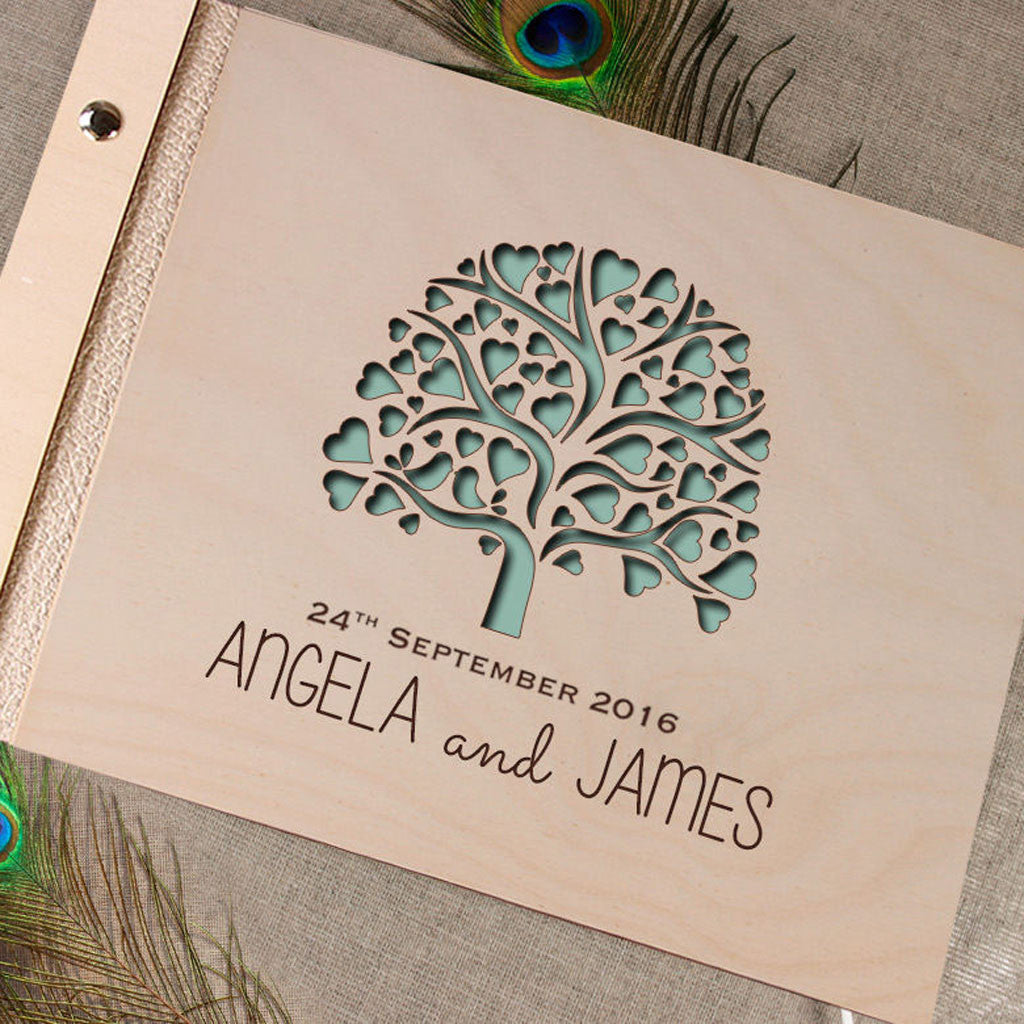 Green Tree Wooden Guest Book Custom Made Love Tree