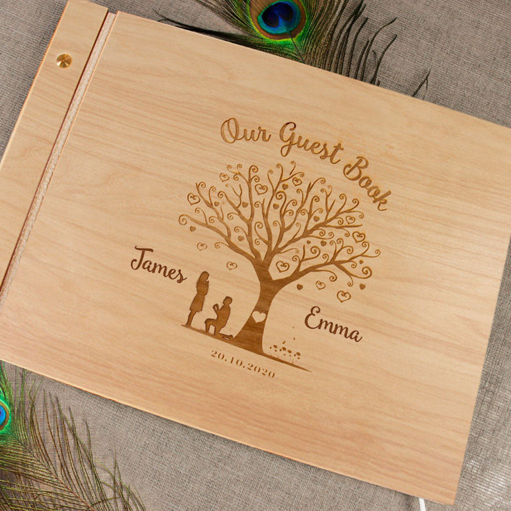 Heart Tree Wood Guest Book Personalized Wedding Photo Album Wood