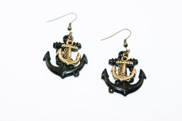 Double Anchor Earrings