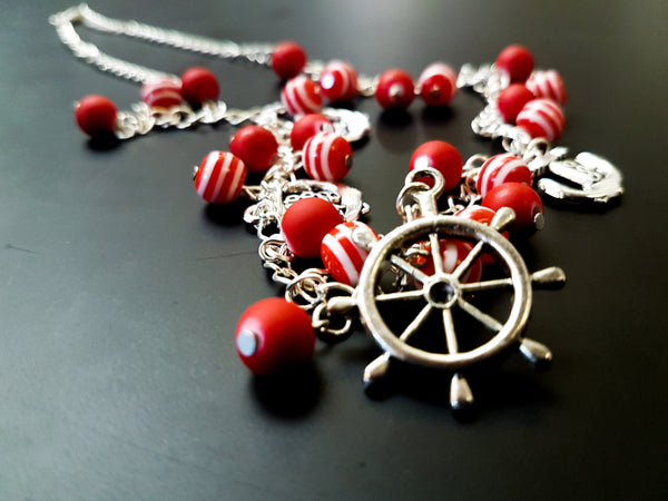 Anchor and ships wheel charm necklace  - red and white