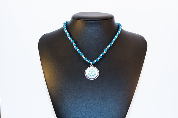Peacock Blue Anchor Pendant Crystal Necklace