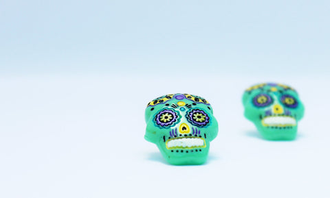 Green Sugar Skull Stud Earrings