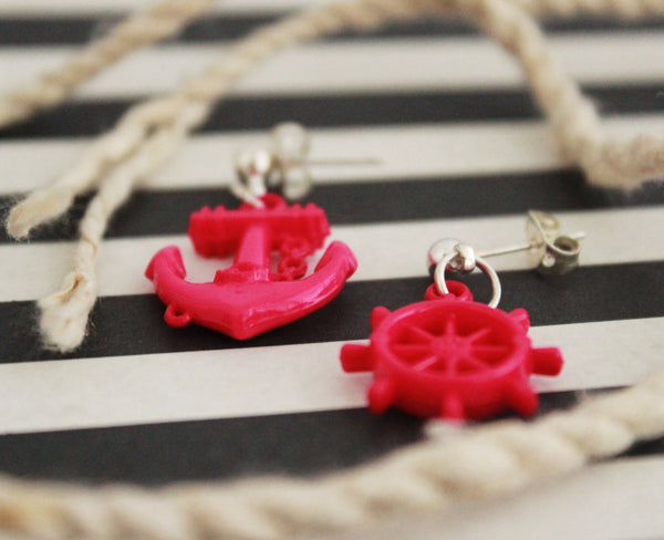 Hot Pink Anchor  and Helm Stud Earrings