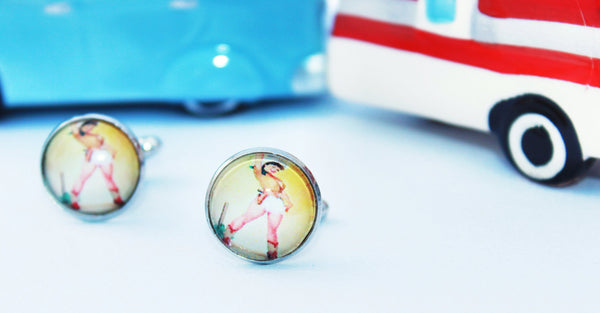 Pinup Girl Cuff Links - Yellow