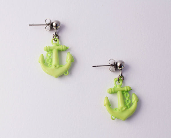Lime Green Nautical Anchor Stud Earrings