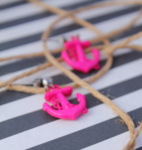 Bright Pink Anchor Stud Earrings