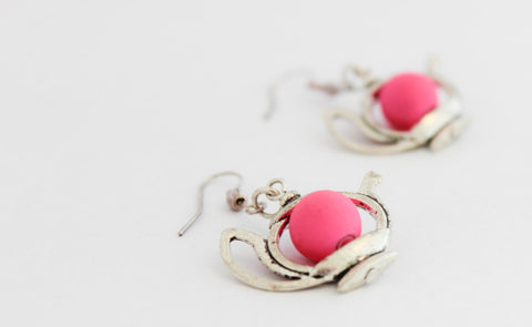 Bright Pink Teapot Earrings