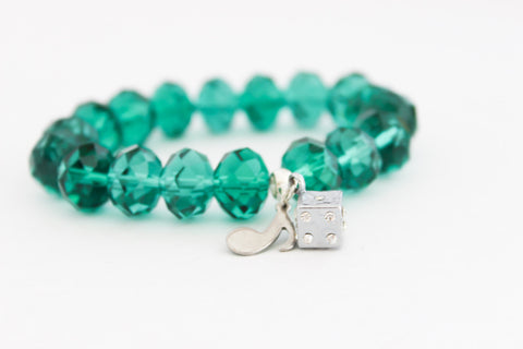 Emerald Green Crystal Beaded Dice and Music Note Charm Bracelet
