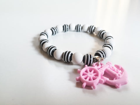 Pink Anchor and Helm Beaded Bracelet