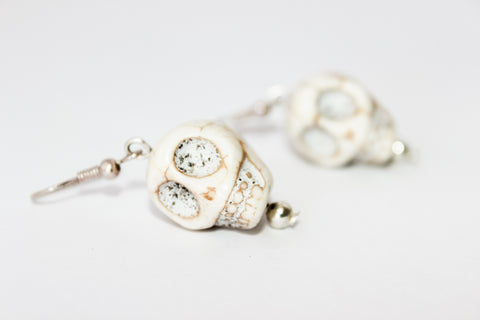 Cream Howlite Sugar Skull Earrings