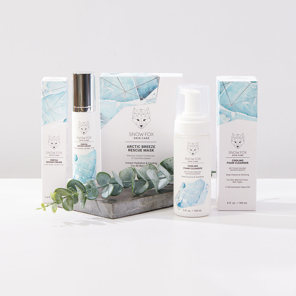 Classic Cooling Set Snow Fox skincare, includes Omega repair cream, cooling foam cleanser and Arctic Breeze Mask