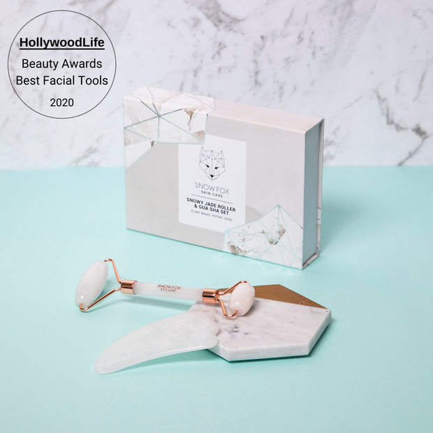 Award winning at Hollywoodlife for Best Facial tools 2020 Snowy Jade Roller and Gua Sha Set